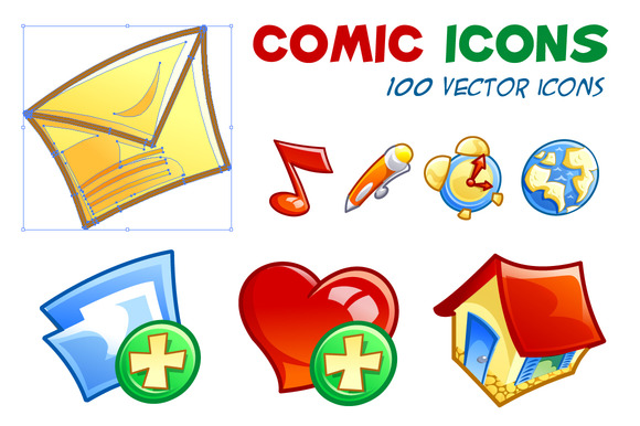 Comic Icons 100 Vector Icons