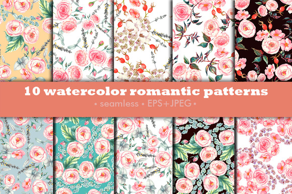 Watercolor Romantic Patterns