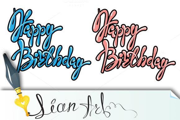 Set Of 2 Phrases Happy Birthday C