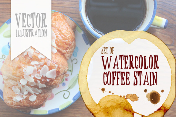 Watercolor Coffee Stain 10eps