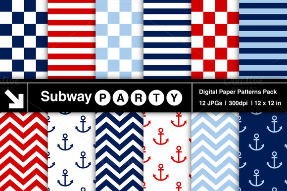 Nautical Stripes Chevron Anchors