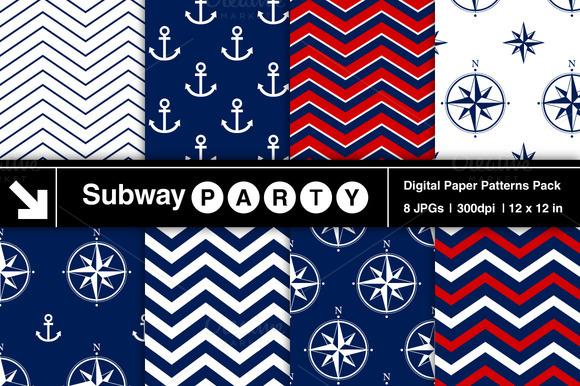 Nautical Navy Red Patterns
