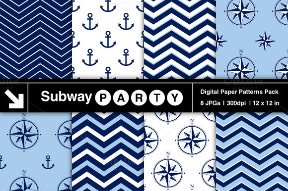 Nautical Navy Blue White Patterns