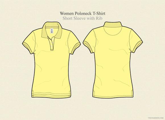 Women Poloneck T-shirt Vector