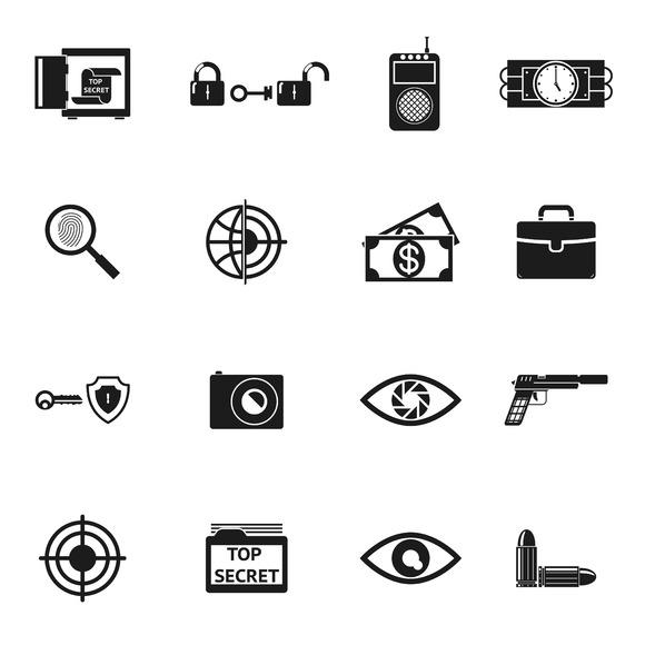 Secret Agent Accessories Icons
