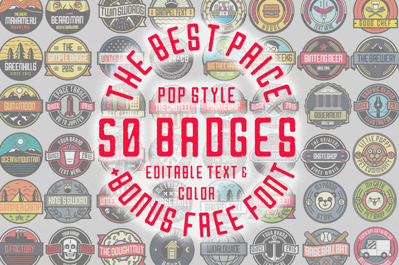 50 Pop Badges Custom Font