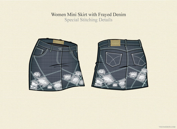 Women Mini Skirt With Frayed Denim