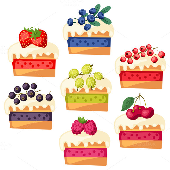 Set Of Cakes With Various Filling