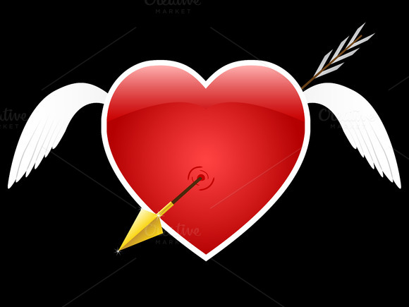 Winged Heart Vector Illustration