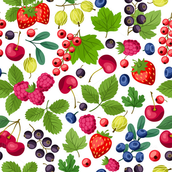 Seamless Patterns With Berries