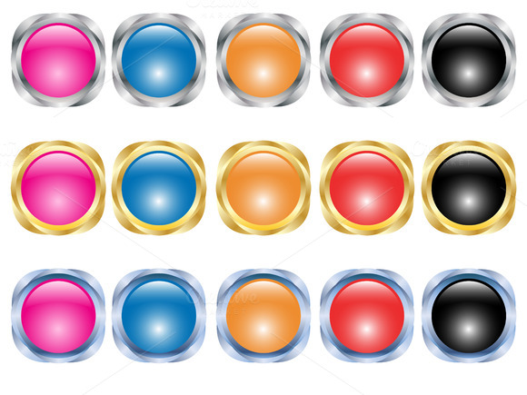 Set Of Buttons Vector Illustration