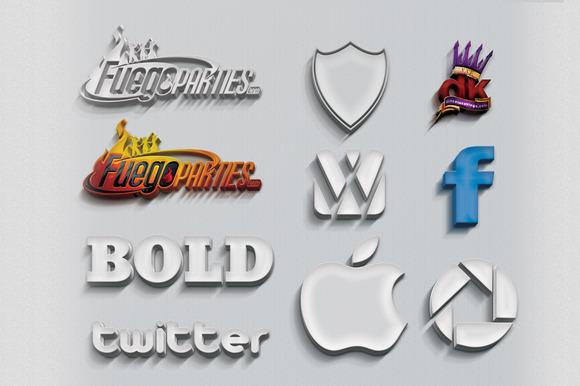 3D Text Logo Mock-up