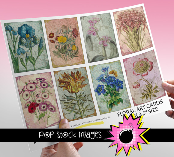 Floral Art Journal Cards ATC ACEO
