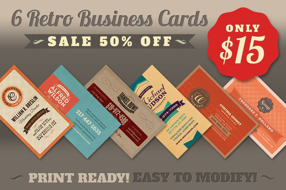 SALE 6Retro Business Cards 50% Off