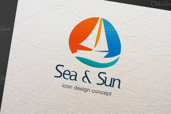 Sea Sun Logo Template