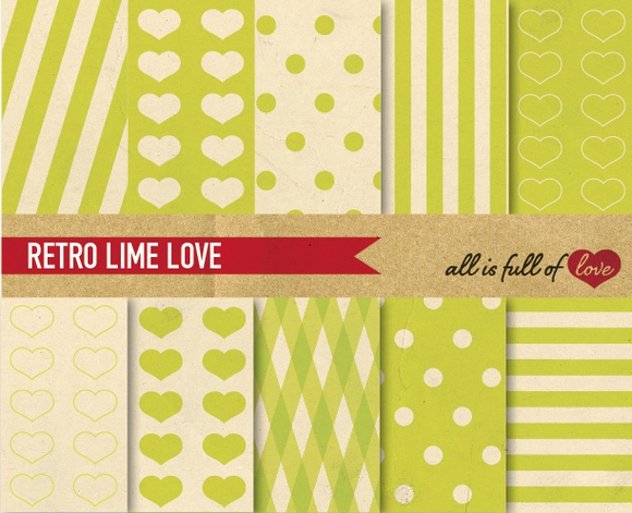 Lime Green Printable Paper Pack