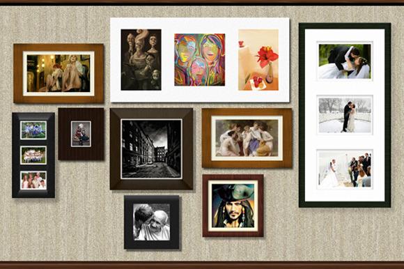 Wall Of Frames Mockup