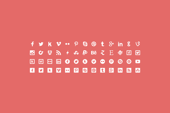 Flaticons Social 52 Icons Font