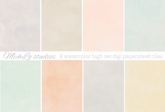 8 Watercolor Web Tiles High Res