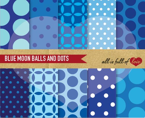 Blue Polka Dots Patterns Printable