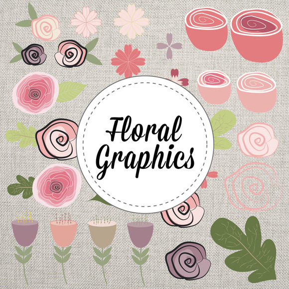 Floral Vector Hand Drawn Graphics