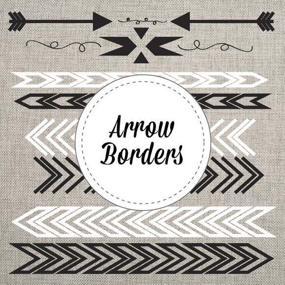 Arrow Borders Black White Vector