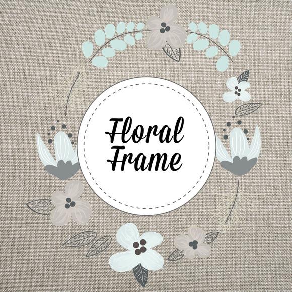 Floral Frame Vector PNG