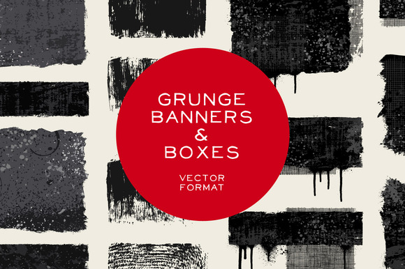 Grunge Banners Boxes