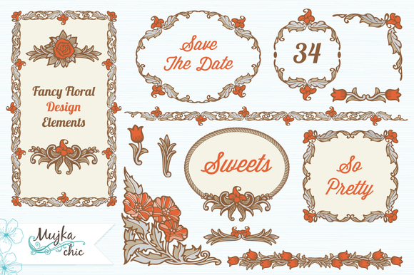 Fancy Floral Design Elements