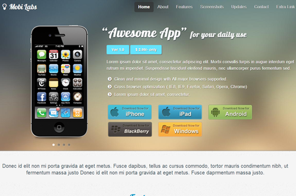 Mobile App Responsive Website Theme