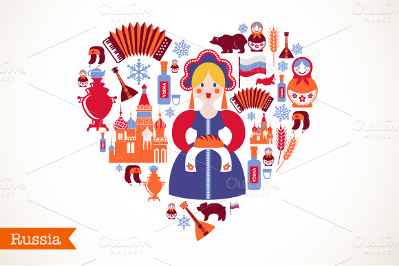 Russia Heart Map With Icons