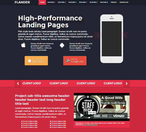 FLANDER Flat Responsive Landing Page
