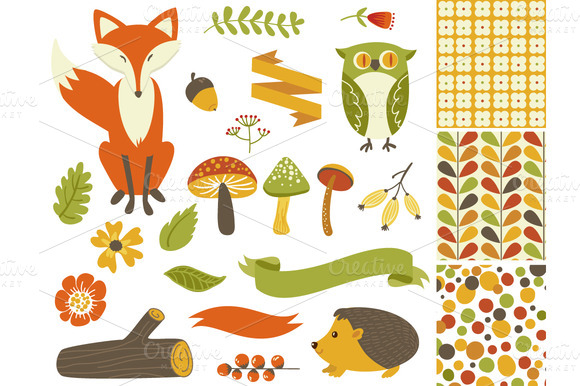 Woodland Fall Clip Art Mushrooms Fox