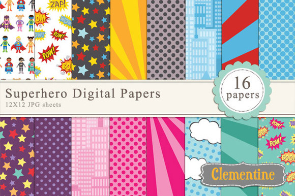 Superhero Digital Papers
