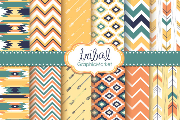 Tribal Backgrounds Ikat Navajo Aztec