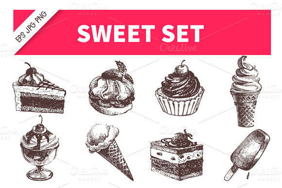 Hand Drawn Sweet Icon Set