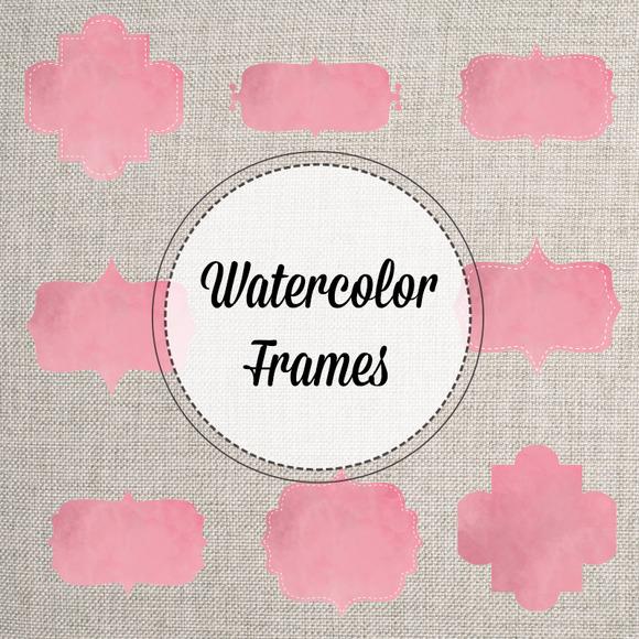 Pink Watercolor Bracket Frames