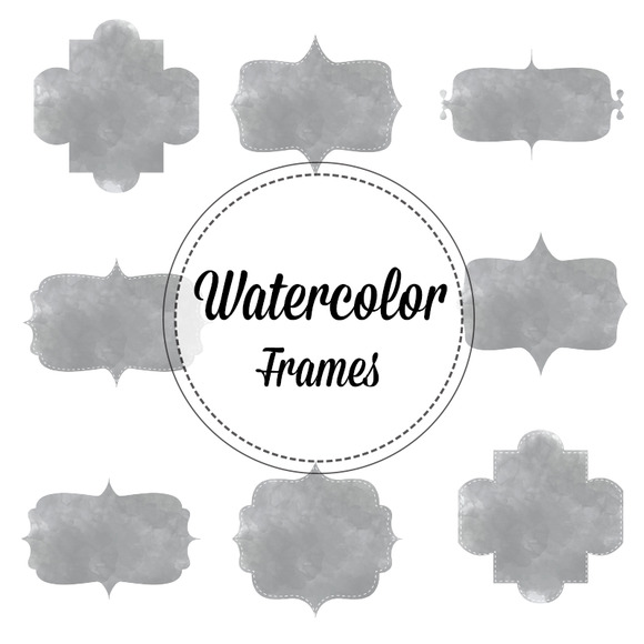 Gray Watercolor Bracket Frames