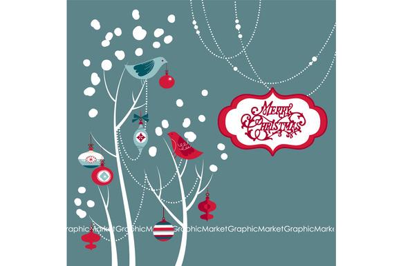 Christmas Clip Art Birds Tree