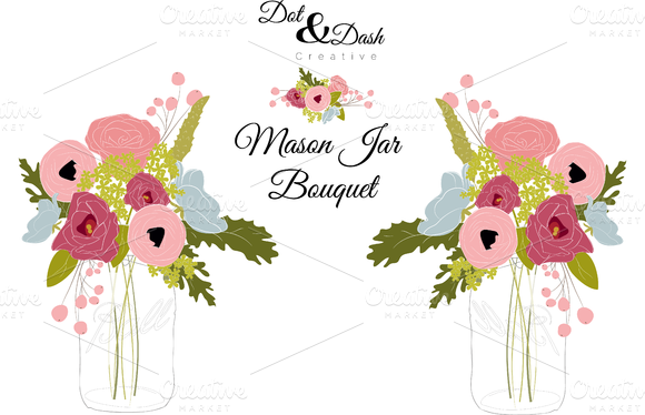 Peony Bouquet In Mason Jar Vector
