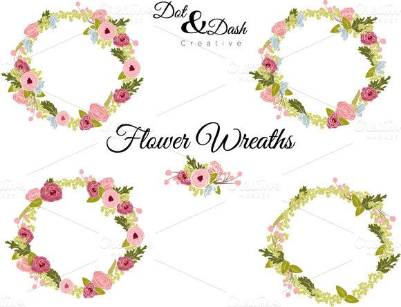 Peony Wreaths Vector