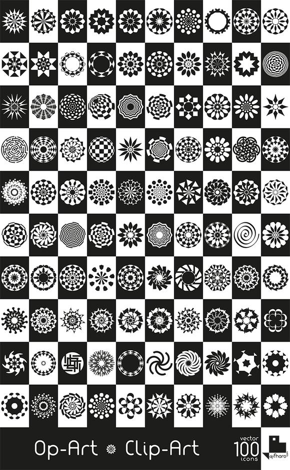 100 Op-Art Clip-Art