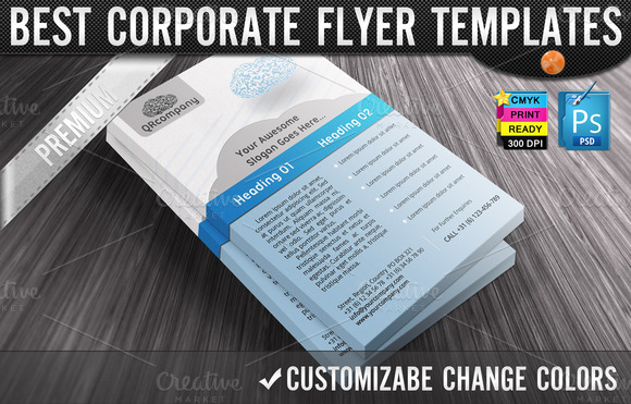 QR Codes 3D Clouds Business Flyers