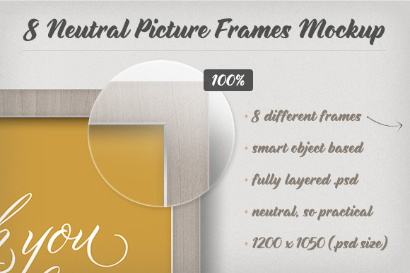 8 Neutral Picture Frames Mockup