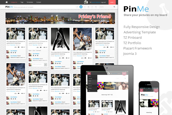 PinMe Responsive Joomla Template