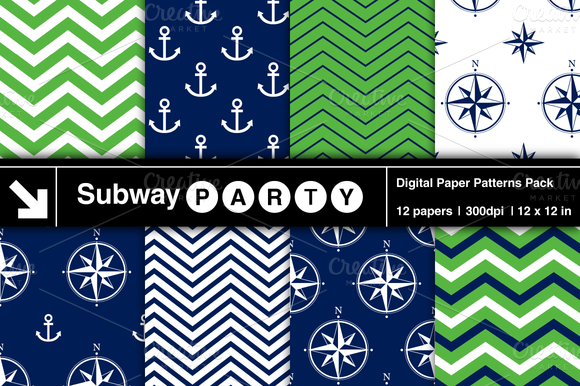 Nautical Navy Green Patterns V1