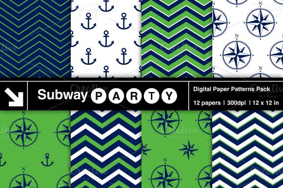 Nautical Navy Green Patterns V2
