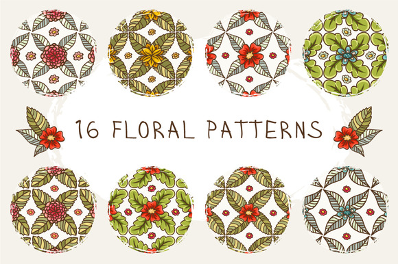 Set Of 16 Floral Patterns