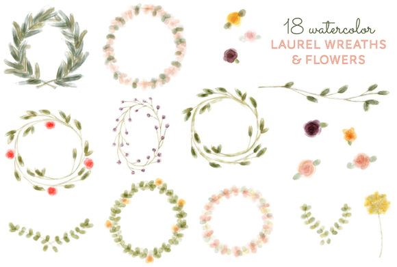 18 Watercolor Laurel Wreath Flower