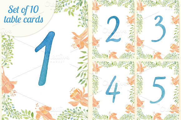 Set Of 10 Watercolor Table Cards